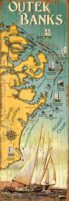 Outer Banks Map, OBX, Red Horse Signs, map of North Carolina's outer banks islands, printed on distressed wood