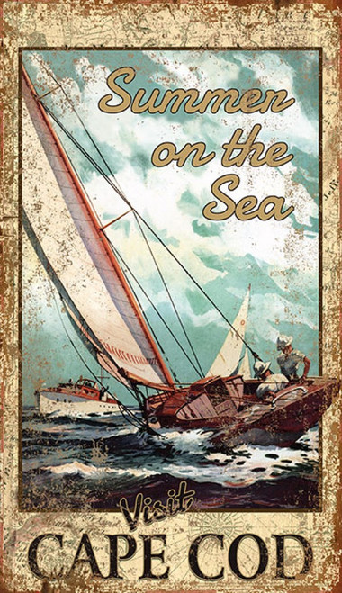 Travel Cape Cod, Red Horse Signs, vintage poster art on distressed wood, a single masted sailboat sails the waves of the Atlantic Ocean
