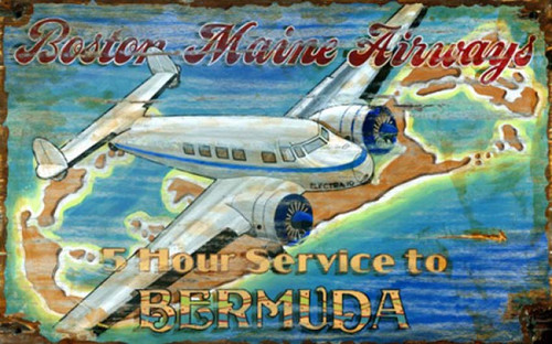 Lockheed Retro Airplane, Red Horse Signs, vintage print on distressed wood, Lockheed Electra turboprop,  travel poster Boston Maine Airways travel to Bermuda
