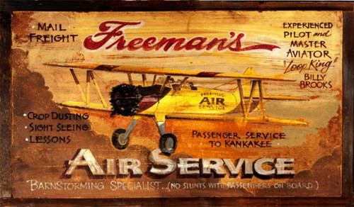Freeman's Aviation, Red Horse Signs, vintage art printed on distressed wood, a yellow bi-plane soars over the clouds, advertising barnstorming and crop dusting