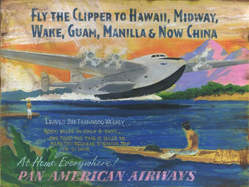 Flying Clipper, Red Horse Signs, Pan American Airways advertisement, based on the Boeing 314 Clipper introduced in 1939, flying from San Fransisco to Hawaii, the Philippines and eventually China