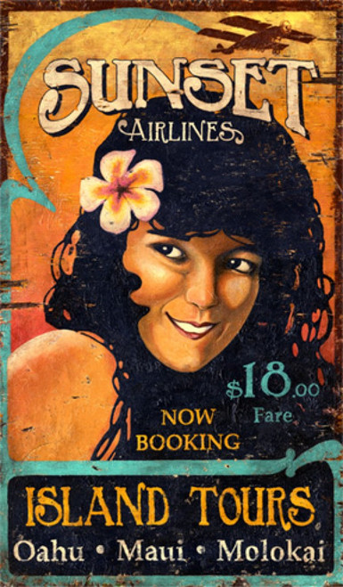 Sunset Airlines, Red Horse Signs, vintage travel poster printed on distressed wood, rustic image of Hawaiian girl advertising island flights to Oahu, Maui, and Molokai