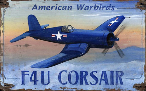 F4U Corsair, Red Horse Signs, vintage art on distressed wood, the Vought designed F4U Corsair, an American fighter aircraft, saw service in World War II and the Korean War
