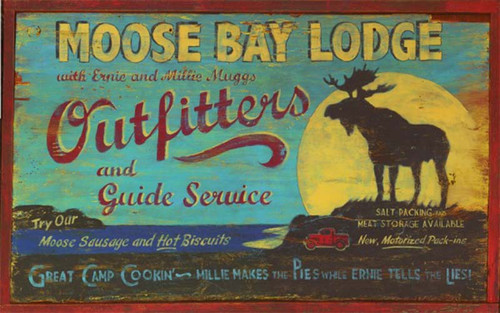 Moose Bay Lodge Outfitters, Red Horse Signs, vintage art on distressed wood, custom