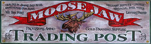 Moose Jaw Trading Post, Red Horse Signs, vintage art on distressed wood, what you would expect to find in the Northwoods, all the way up to the Yukon and Alaska, an isolated trading post with provisions for the gold miner and trapper
