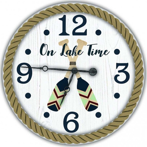 On Lake Time vintage clock, Red Horse Signs, crossed paddles on face, framed with rustic metal ring and rope design