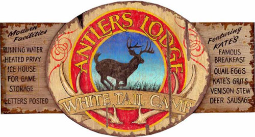 "Antler Lodge, White Tail Camp, Red Horse Signs, vintage art on distressed wood,  great gift for the deer hunter, featuring everything you want in a ""modern"" lodge including heated privy, and hot breakfast of venison stew and deer sausage"
