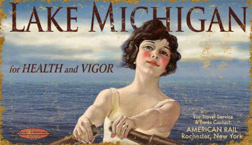 Lady Michigan, Red Horse Signs, vintage art on distressed wood, travel poster for American Rail from Rochester, New York, stunning retro-image of brunette in a row boat