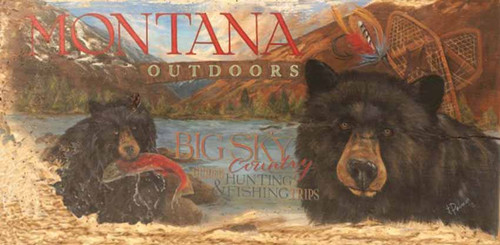 Montana, Red Horse Signs, vintage art on distressed wood, Terri Palmer's salute to Big Sky Country, the Last Best Place in America, Montana Outdoors, home to Grizzlies and Mountain Trout