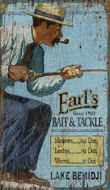 Lake Bemidji, Red Horse Signs, vintage art on distressed wood, we are headed to Minnesota and Lake Bemidji to fish, but first we stop by at Earl's Fish and Tackle for supplies. Vintage art shows a mustachioed man with pipe in a straw hat fishing with rod and reel