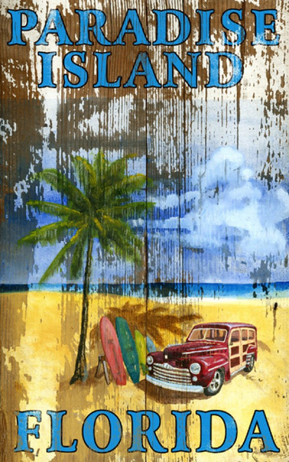Beach Palm, Red Horse Signs, vintage art on distressed wood, image of a solitary palm tree a parked woody and surf boards on the sandy beach in Paradise, Florida