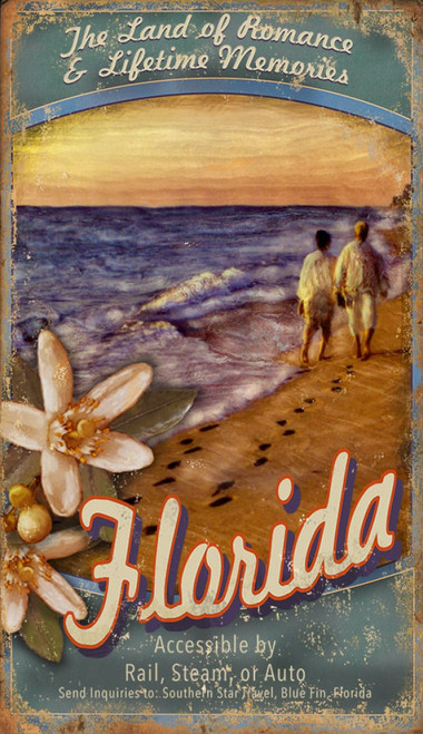 Visit Florida, Red Horse Signs, vintage travel poster on distressed wood, image of couple walking down the beach at sunset