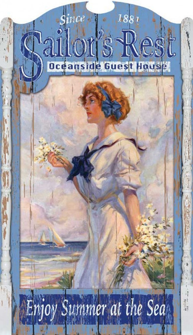 Sailors Rest, Red Horse Signs, coastal vintage sign, on distressed wood, an auburn haired beauty gathers white flowers in front of her ocean-side guest house