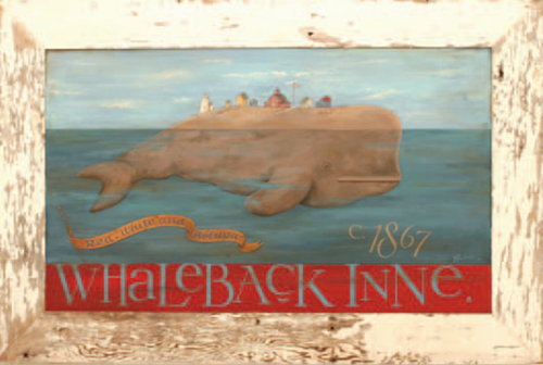 Whale Back, Red Horse vintage sign by artist Terri Palmer, image of a village riding on top of a whale, ribbon says red, white, and beluga