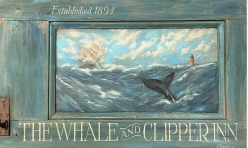 Whale Clipper, Red Horse Signs, vintage art by Terri Palmer on distressed wood, vintage sign for The Whale and Clipper Inn features a three masted sailing ship, a whale submerging into the ocean, and lighthouse