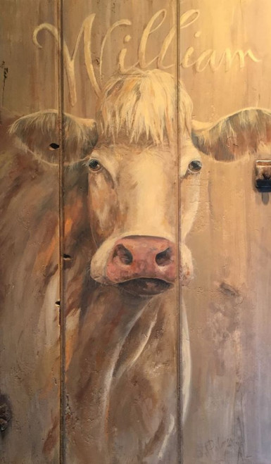 William, Red Horse Signs, vintage art on distressed wood, image of a Jersey cow named William, artist Terri Palmer