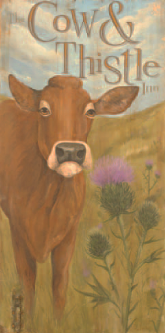 Cow and Thistle Inn, vintage sign by artist Terri Palmer and Red Horse Signs,  image of a brown cow in the field next to a thistle, advertisement
