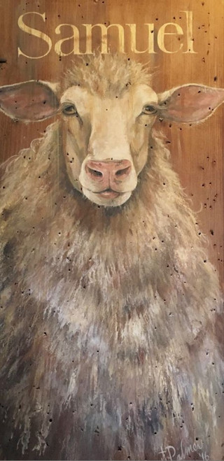 Samuel, Red Horse Signs, vintage art on distressed wood by artist Terri Palmer,  image of a large woolly sheep