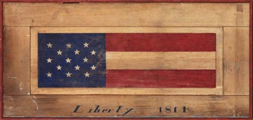 Flag American, Red Horse Signs, vintage, vintage art on distressed wood, artist Terri Palmer, Liberty Flag with 15 stars, date 1814