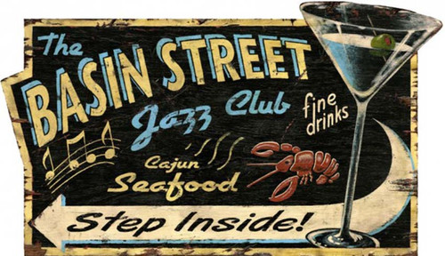 Jazz Club, Red Horse Signs, vintage art on distressed wood, sign for the Basin Street Jazz Club serving Cajun seafood and fine drinks
