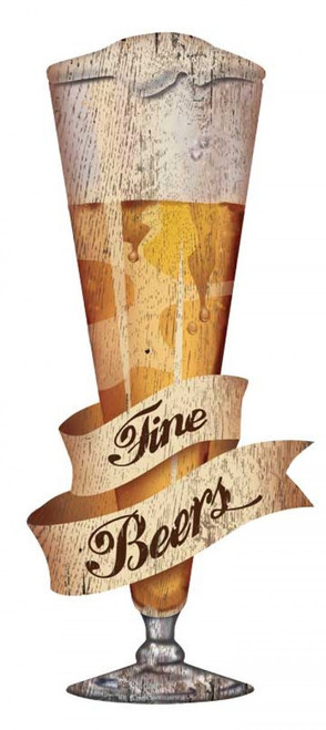 Fine Craft Beer, Red Horse Signs, vintage art on distressed wood, cut-out image of a frosty glass of beer