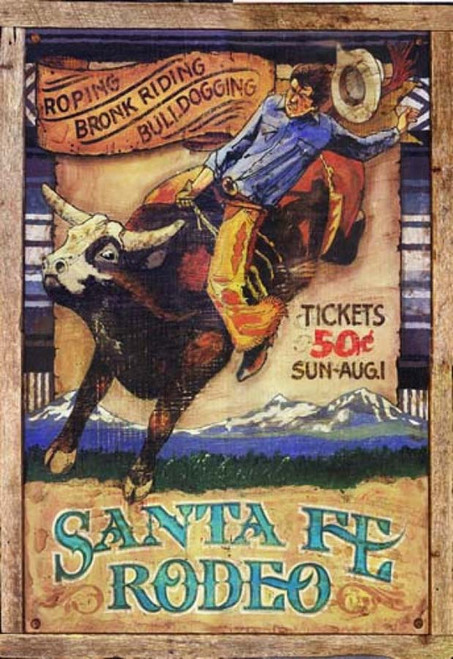 Rodeo, Red Horse Signs, vintage art on distressed wood,  image of bull-rider at the Santa Fe Rodeo, distant view of Rocky Mountains