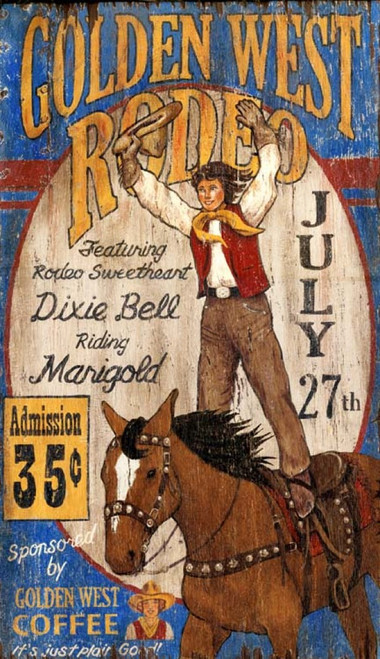 Golden West Rodeo, Red Horse Signs, vintage poster on distressed wood, featuring Dixie Bell riding her horse Marigold