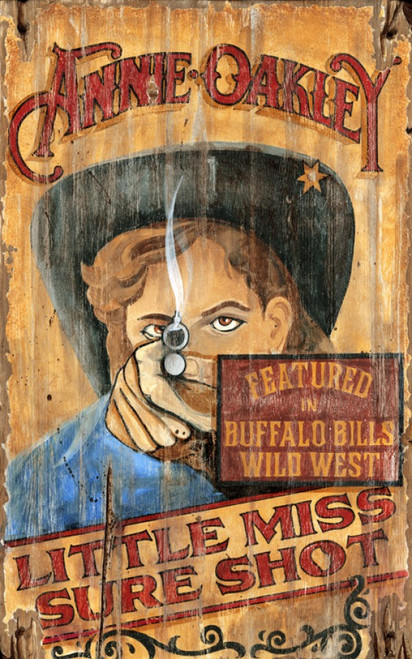 Annie Oakley, Red Horse Signs, vintage art on distressed wood,  image of Annie, Little Miss Sure Shot, featured in Buffalo Bills Wild West Show