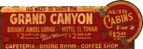 Grand Canyon, Red Horse Signs, vintage reproduction of lodge billboard, auto cabins, Bright Angel Lodge