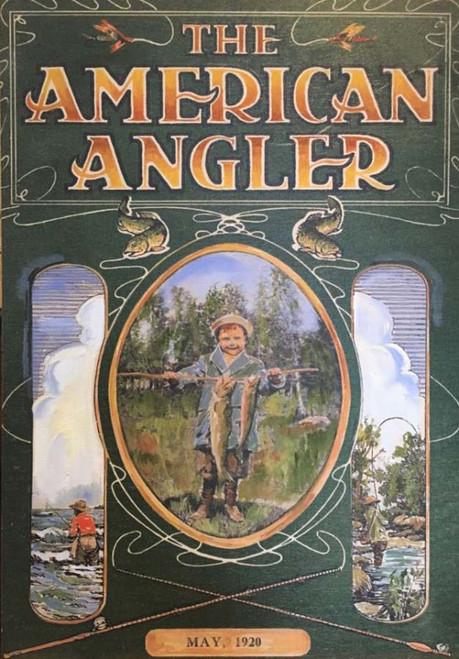 American Angler, Red Horse Signs, vintage magazine cover art printed on distressed wood,  magazine issue date May 1920