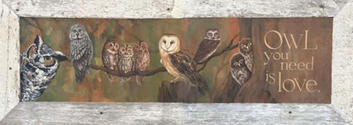 "Owl Love, Red Horse Signs, vintage art on distressed wood, ""Owl you need is love"" will inspire and amuse your guests"
