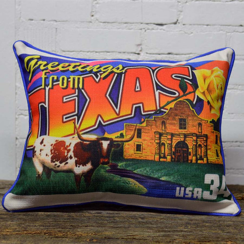 State postcard pillow, the Little Birdie, Greetings from Texas, or any state from Alabama to Wyoming.