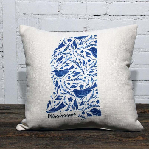 Blue Bird Patterned State Pillow, The Little Birdie pillow, Bluebirds, leaves and ferns, bluebirds singing a song, nothing but bluebirds, all day long. This pillow can feature any state! Patterned matches the state