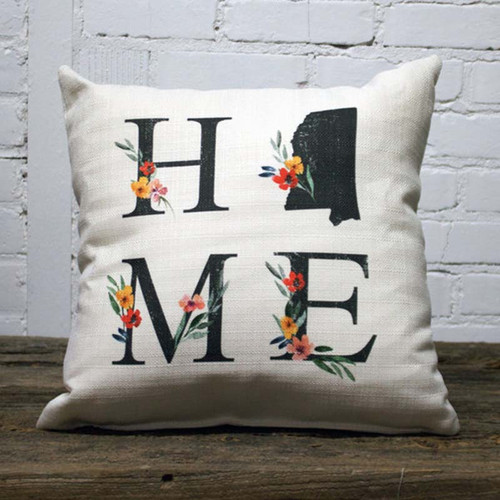 Home State Floral Letters (Square) Pillow, The Little Birdie,  proclaim your admiration for your home state