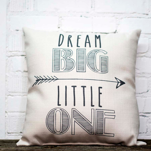 Dream Big Little One, The Little Birdie throw pillow, gray, Point the way, inspire a child, this comfy cute pillow says it all