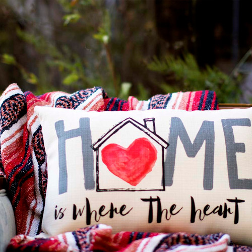 "Home is where the heart is, The Little Birdie throw pillow,  image of heart, house and ""home"""