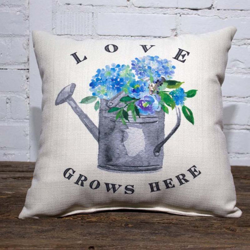 Love Grows Here Hydrangea Watering Can Pillow, The Little Birdie, image watering can, blue hydrangea