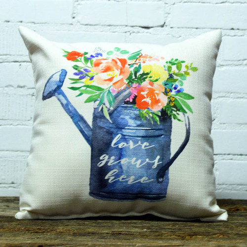 Love Grows Here (Spring) Watering Can Pillow, The Little Birdie,  image of watering can and colorful spring flowers