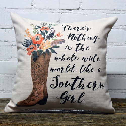 Nothin' Like a Southern Girl Pillow, The Little Birdie, image of cowgirl boots, feathers and flowers