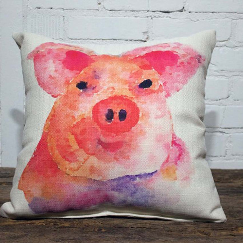 Watercolor Pig Pillow, The Little Birdie, image bright watercolor pig on white background