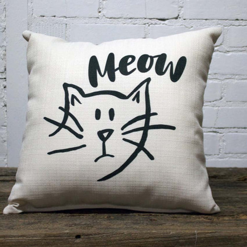 Sketchy Meow Pillow, The Little Birdie, black and white caricature of cat