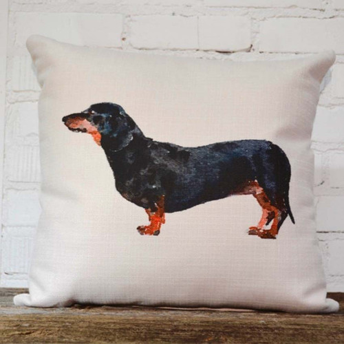 Dachshund throw pillow, The Little Birdie, profile image of black and brown dachshund dog