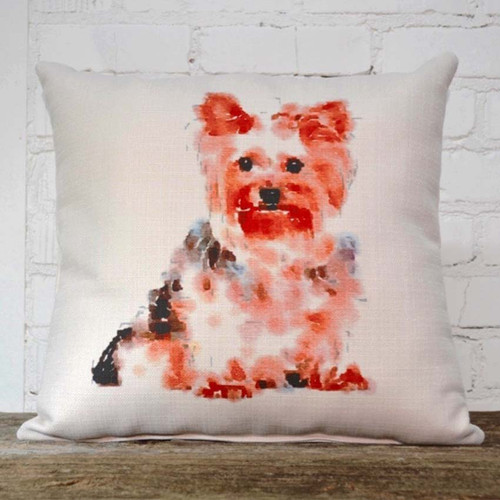 Yorkie throw pillow, The Little Birdie, image of colorful Yorkie dog
