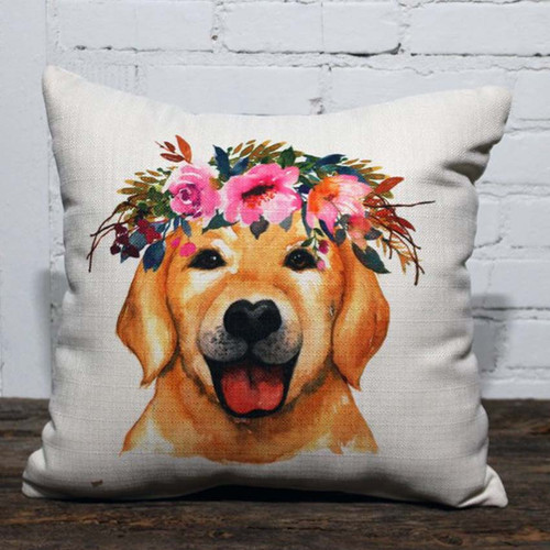Flower Crown Yellow Lab Pillow, The Little Birdie, image of the face of a yellow labrador dog with a flower wreath