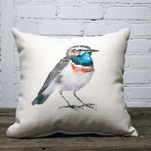 Brown and Blue Bird Pillow, The Little Birdie, image of colorful small standing bird with blue throat waiting for birdseed, please feed the birds