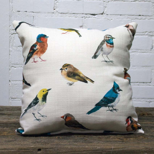 Bird Pattern pillow, The Little Birdie, multiple images of small colorful birds on a white background