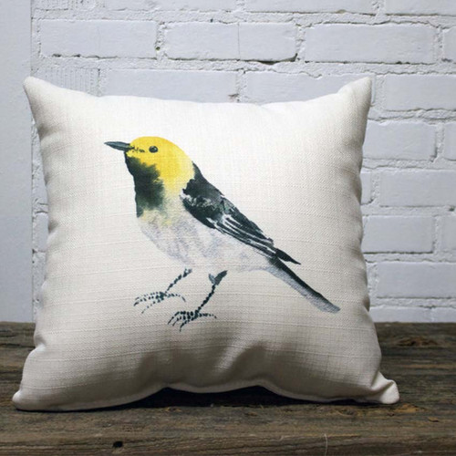 Yellow and Black Bird Pillow, The Little Birdie,  birds fly over the rainbow, why can't we