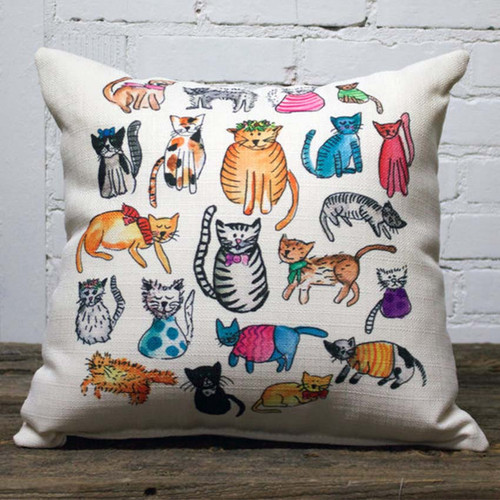 Catto Pillow, The Little Birdie, multiple images of colorful, playful cats