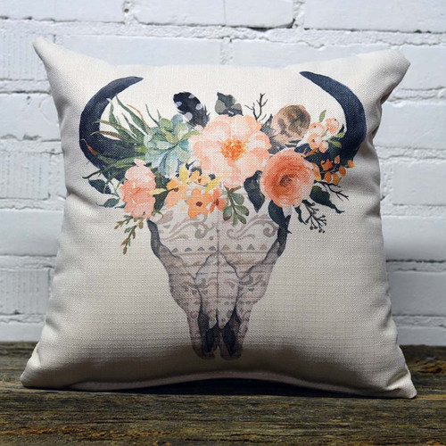 Bison Skull Large Florals Pillow, The Little Birdie,  image bison crown decorated with pale orange flowers and feathers