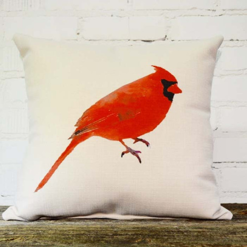 Cardinal Pillow, The Little Birdie, image of red Cardinal bird on white background